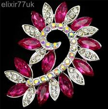 NEW LARGE SILVER FLOWER BROOCH PINK DIAMANTE CRYSTAL WEDDING BRIDAL PARTY BROACH