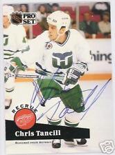 CHRIS TANCILL 1992 PRO SET WHALERS  AUTOGRAPHED HOCKEY CARD JSA
