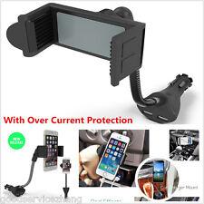 NEW Handfree Car Smartphone Mount Holder Dual USB 2.1A Cigarette Lighter Charger