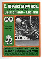 Orig.PRG   U21   EM 1982   FINALE   Deutschland - England  !!  SEHR SELTEN