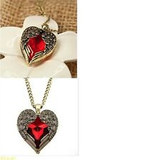Women's Long Vintage Red Heart Angel Wings Pendant Necklace Jewellery
