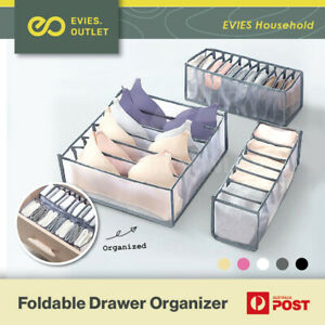 Foldable Drawer Organiser Divider Bra Sock Underwear Storage Closet Wardrobe Box