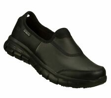 Slip Resistant Skechers Wide Width Shoes Work Black Womens Nursing Uniform 76536