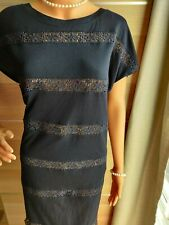 HOBBS FITTED EMBELLISHED LACE DRESS SIZE UK 14  APPROXIMATELY 51% MODAL