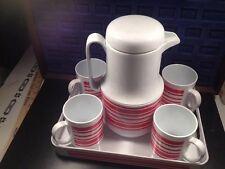 4 Red White Atomic Ring PLASTIC Mug SET VTG Retro Himark Gourmet Kitchen Taiwan