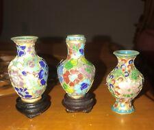 Vintage Japanese Cloisonne' Enamel Miniature Vase, Set of 3,