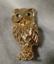 Vintage Gold Owl Brooch With Crystal GREEN EYES