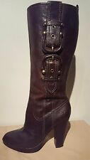 FRYE HEIDI BUCKLE BROWN LEATHER WOMAN'S BOOTS SIZE 8 M PRE-OWNED GREAT CONDITION
