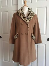 Vintage 60s Joanna Jr Couture Tan Camel Brown Leopard Flare Peacoat Coat Size L