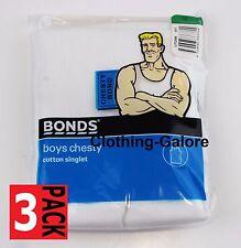 BONDS 3 Pack Boys White Chesty Singlet Cotton Ribbed Vest Size 4 6 8 10 12 14 16