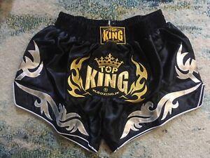 Top King Boxing Retro Shorts - Large - Black Gold Silver Satin NEW TKB Muay Thai