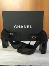 Chanel 16B CC Black T Strap Mary Jane Pumps Gold Chain Heel Shoes - 39.5 9 1 /2