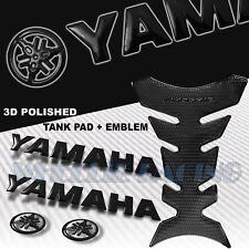 "PERFORATED BLACK PRO GRIP FUEL TANK PAD+8"" 3D YAMAHA LOGO+LETTER EMBLEM STICKER"