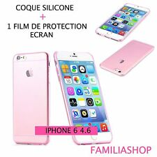 Housse étui pochette coque transparent rose gel silicone iphone 6 4.7 + 1 film