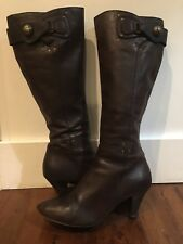 Miss Sixty Brown Leather Tall Boot Size 10/41