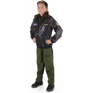 Flight Jacket Boys Child Top Gun Aviator Piolet Zip Up Halloween Accessory