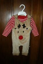 Ex Chainstore Reindeer Babygrow Dungarees T shirt top Set JUMPSUIT NB-6M