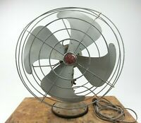 "Vintage GE 12 Oscilating 3 Speed Electric Fan W/ 17"" Cage Grey F11V163"