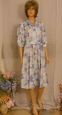 Cute Vtg 70s California Looks Block Print Secretary Dress in Shades of Purple 12