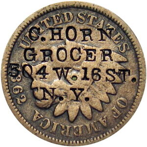 1862 New York City Counterstamp on 1862 Cent Horn Grocer 304 W 16th Street