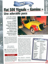 Fiat 500 Vignale Gamine 1969 ITALY ITALIE ITALIA Car Auto FICHE FRANCE
