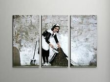 """Banksy Maid In London Stretched Canvas Triptych Print 48""""x30"""". BONUS WALL DECAL!"""