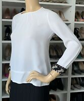J CREW CREPE WHITE BEADED CREW NECK LONG SLEEVE TOP BLOUSE $400+