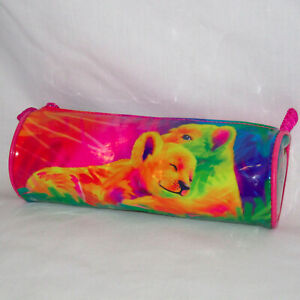 "Lisa Frank Yellow Lions Zip-Top Pencil Pouch/Bag 8"" Tube-Style Round Cylinder"