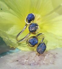 Ring with Azurite Stone of the Joy in Sterling Silver 925 Two Colored