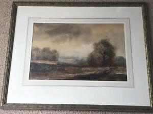 Artist Kristan Baggaley Framed Watercolour Sunrise Over East Derbyshire Moors 96