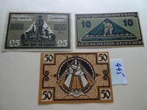 NOTGELD GERMANY 10 / 25 / 50 / pfennig - KEVELAER -  AU/UNC