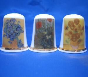 Birchcroft China Thimbles -- Set of Three -- Van Gogh Flower Paintings