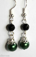 black and green dangle EARRINGS Jewellery