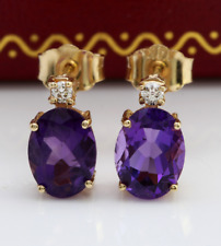 2.50 Carat Natural Amethyst and Diamond in 14K Solid Yellow Gold Stud Earrings