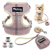 Soft Dog Harness & Leash & Treat Bag Mesh Cat Walking Vest for French Bulldog