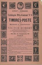 Rare 1892 Stamp Dealer (Victor Robert) Catalog from Paris (10 pages)