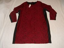 Simply Emma Dress 3X Womens Plus Red and Black Lace Cabernet Long Sleeve