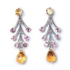 De Buman 3.78ctw Drop Tear Citrine Earrings in 10K WG With White Diamond