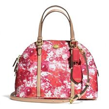 NWT COACH PEYTON FLORAL DOMED SATCHEL Handbag PINK RED 31341