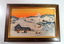 Elisabeth Fust Oil Painting on Wood - Winter Village at Sunset Scene