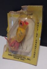 """Vintage Fred Arbogast """"Hula Popper"""" Yellow, Silver, Red (Original Packaging)"""