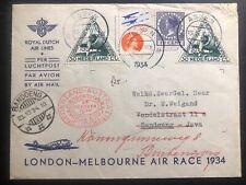 1934 Assen Netherlands Air Race Special Flight cover To Bandoeng Dutch East Indi