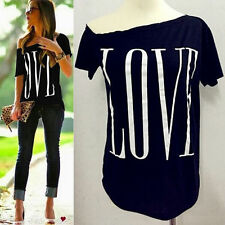 Summer Womens New Sexy Fashion Loose Short Sleeve Black Tops T-Shirt Love Blouse