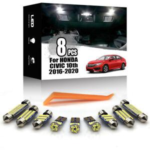 8x For HONDA CIVIC 2016-2020 Xenon White LED Car Interior Lighting Package Kit