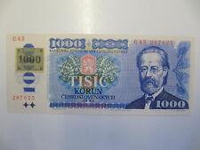 Czech Republic 1,000 Korun Banknote P.3a (1993) Adhesive Stamp