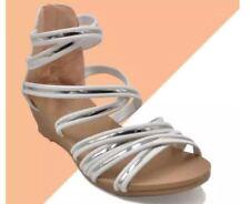 "Khoee AZ-39 Women's Wedge Sandals 1.5"" Heels with Back Zipper (white) SIZE 36"