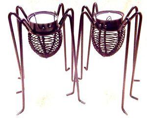 "2 Set SPIDER TEALIGHT CANDLE HOLDER Halloween Black Widow Votive 6.5"" Tall NEW"