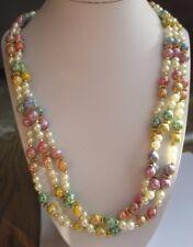 grand collier bijou perles résine multicolores 3 rangs  attache couleur or 3301