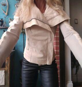 Rick Owens Champagne Lamb Leather & Wool Jacket sz US 6 UK 8 IT 40