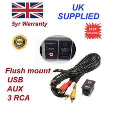 For Hyundai Car Dash Flush Mount 3.5mm AUX & USB MALE 3RCA Extension Cable